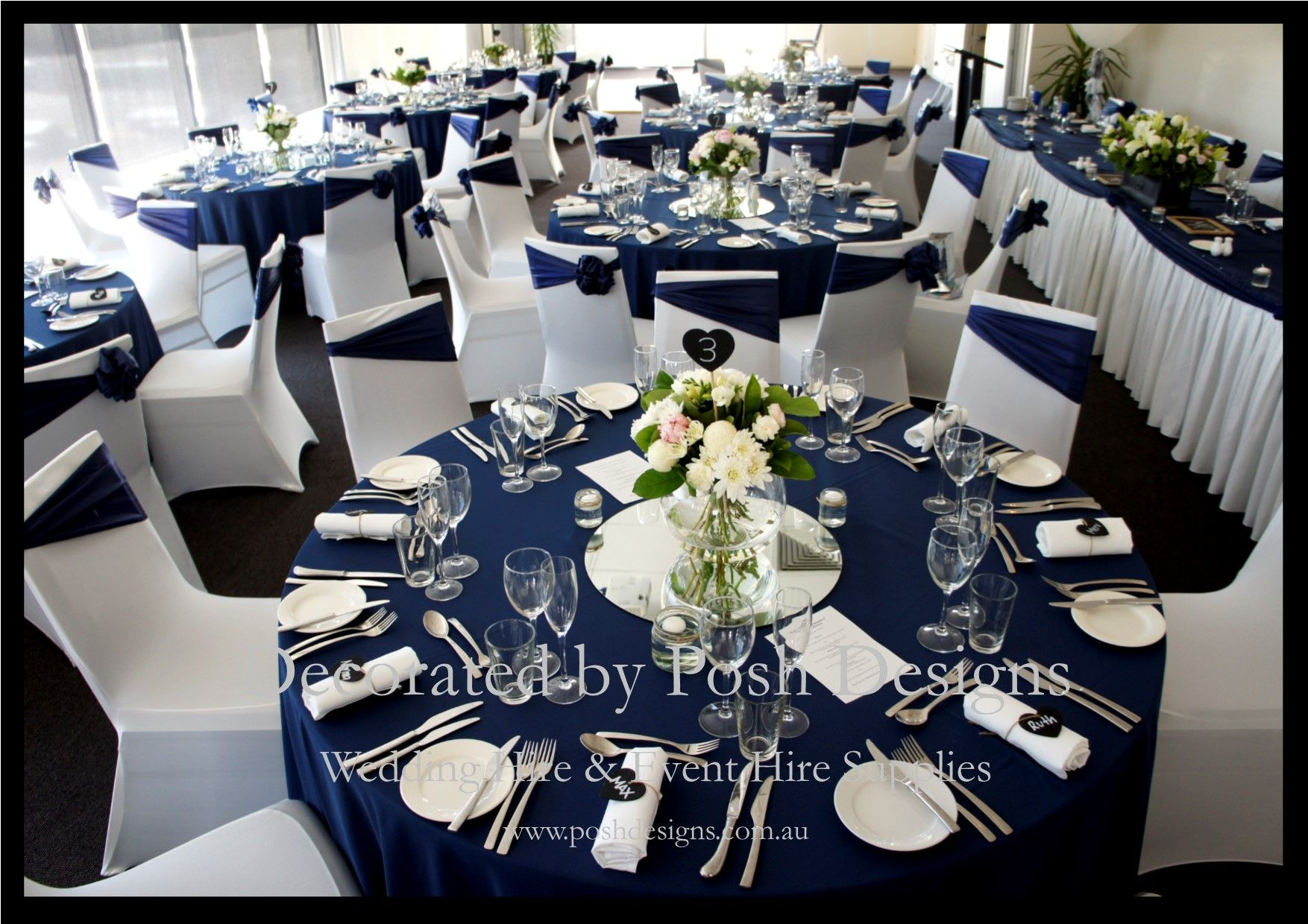 Blue And White Wedding Decorations  Navy blue and white wedding decorations for hire
