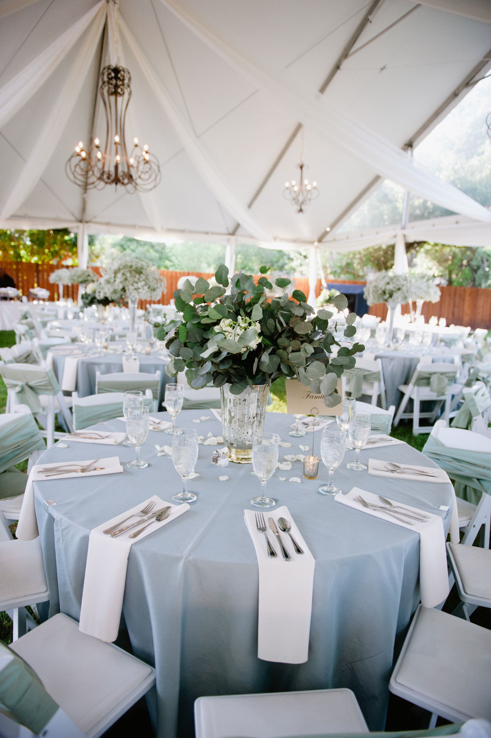 Blue And White Wedding Decorations  Light Blue and White Outdoor Reception Decor Elizabeth
