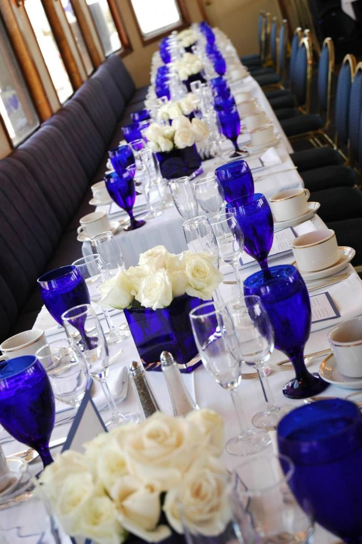 Blue And White Wedding Decorations  Royal Blue And Ivory Wedding Decorations