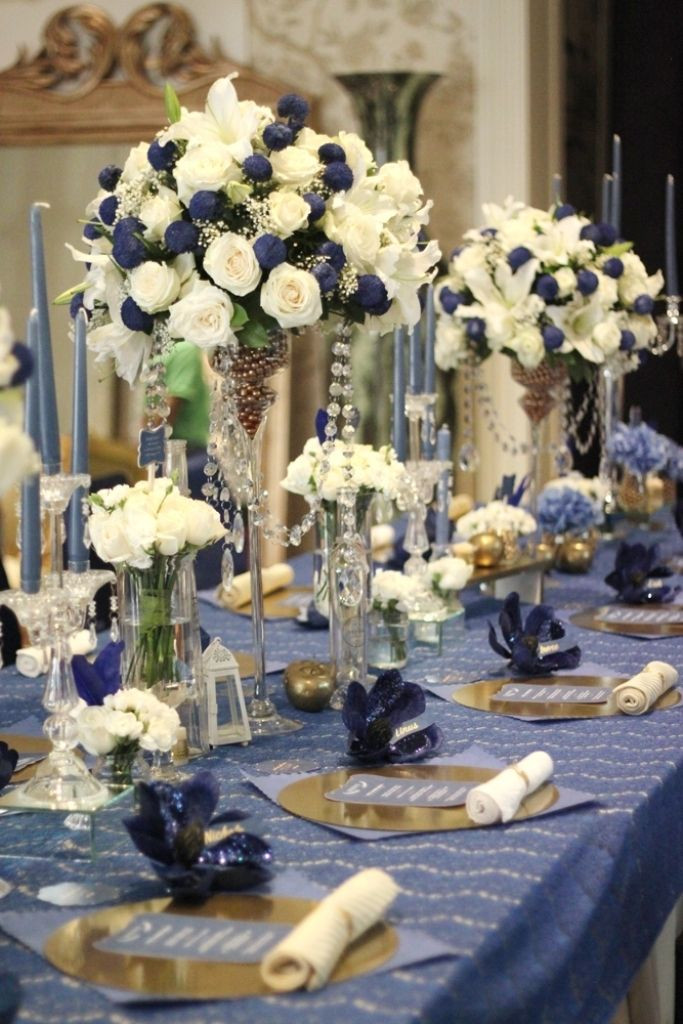 Blue And White Wedding Decorations  Pin by Magalie Leger on Glamour N Luxury Wedding