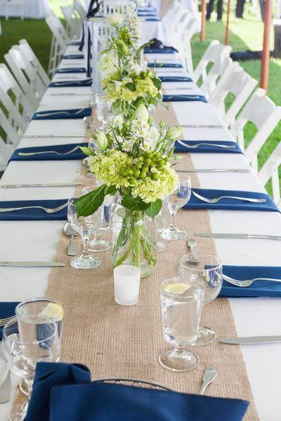 Blue And White Wedding Decorations  Real Weddings Real Wedding s WeddingWire