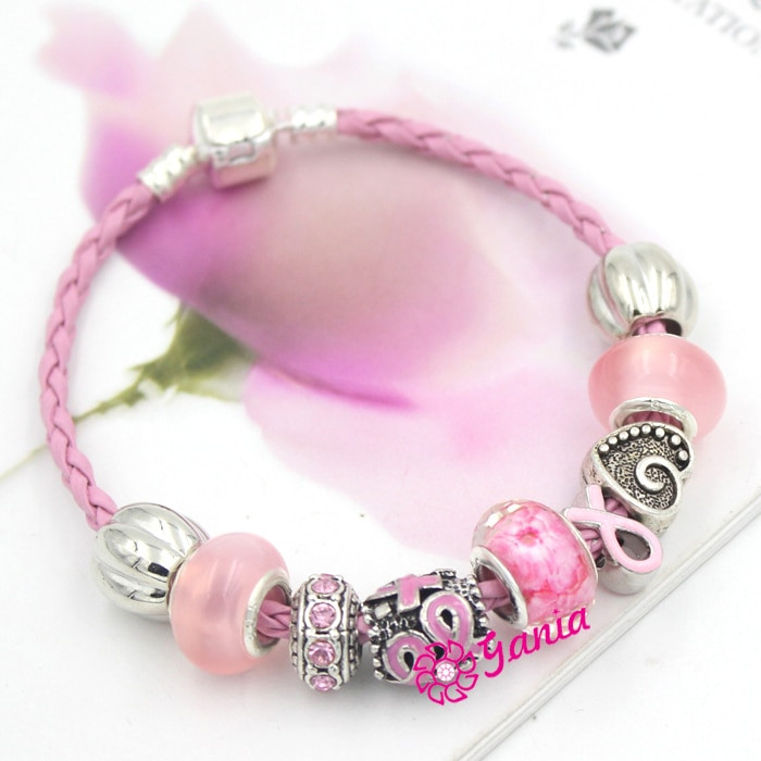 Breast Cancer Bracelets  6PCS Newest Breast Cancer Awareness Jewelry European Bead
