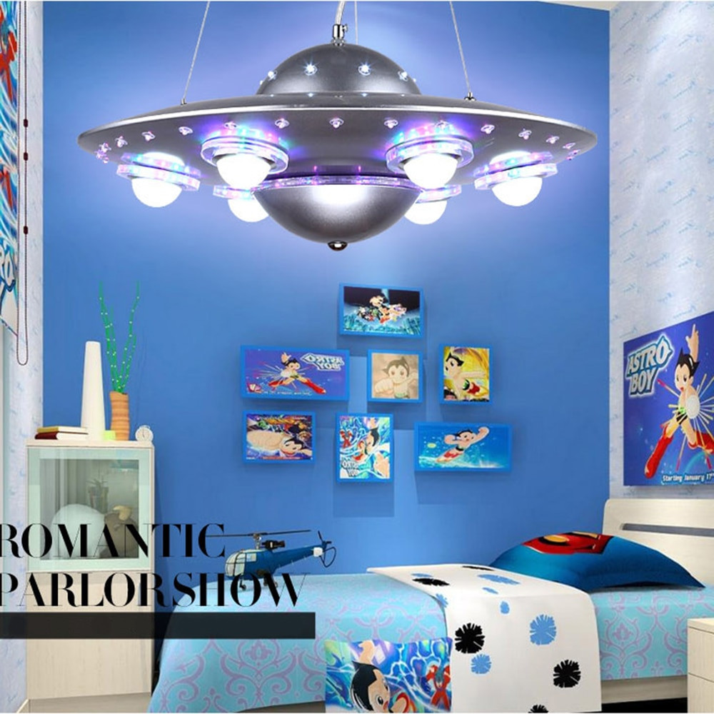Children Bedroom Lights  Colorful Remote Control UFO Spaceship Chandelier Children