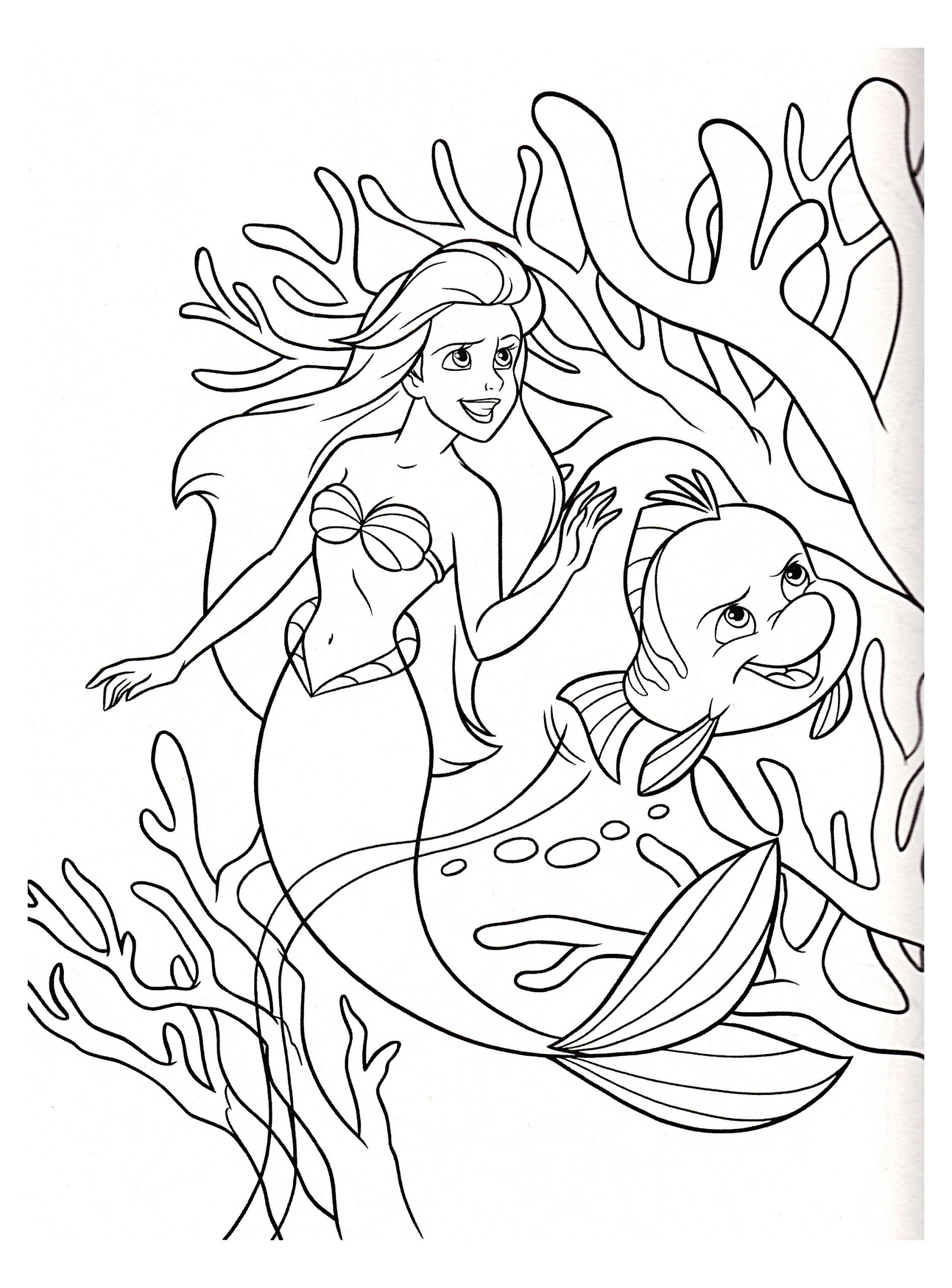 Children Coloring Page  The little mermaid to color for children The Little