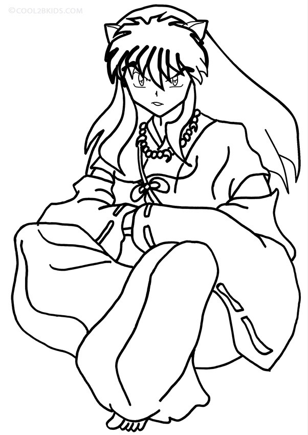 Children Coloring Page  Printable Inuyasha Coloring Pages For Kids