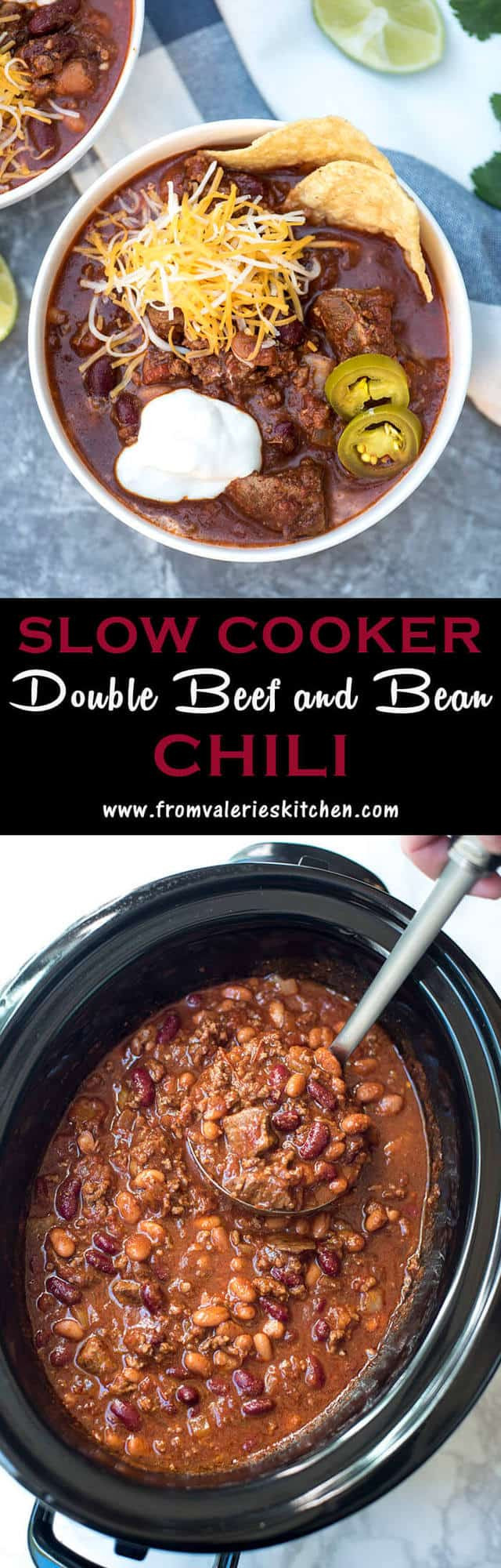 Chili With Beef Cubes  Slow Cooker Double Beef and Bean Chili