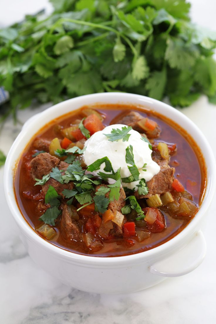 Chili With Beef Cubes  Slow Cooker Texas Beef Chili