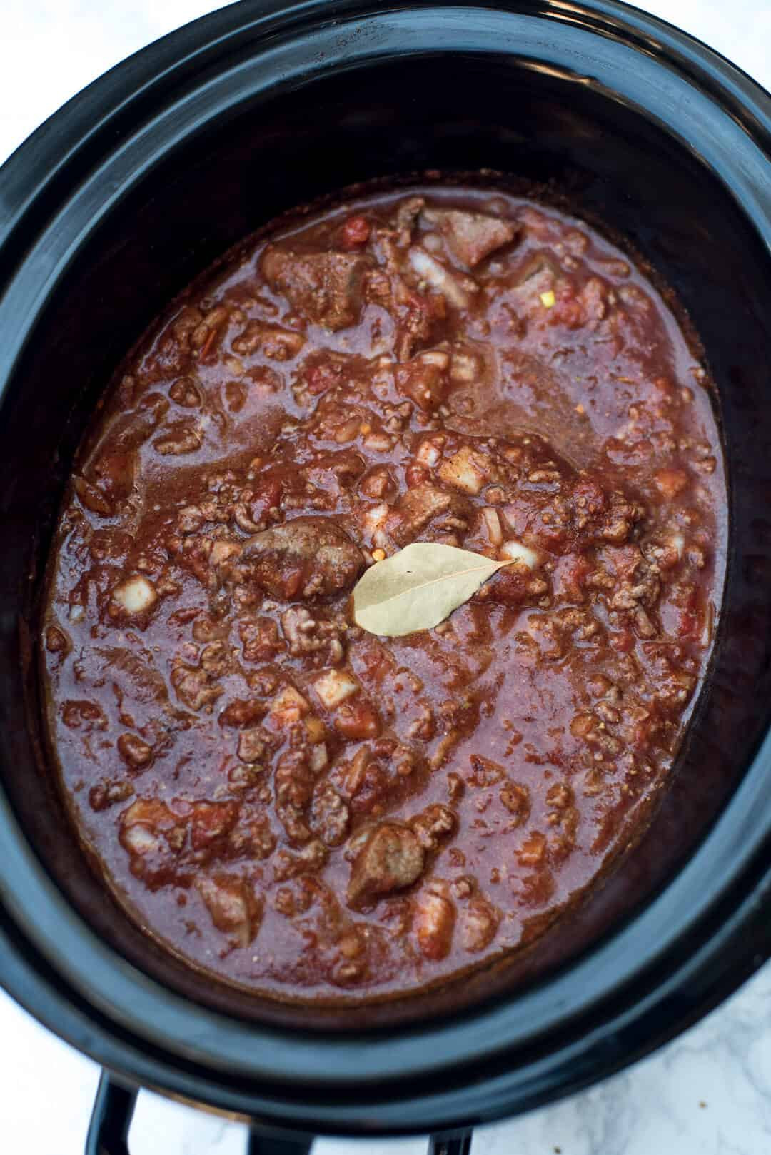 Chili With Beef Cubes  Slow Cooker Double Beef and Bean Chili Valerie s Kitchen