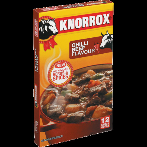 Chili With Beef Cubes  Knorrox Cubes Chilli Beef Flav 12 120g Boerewa