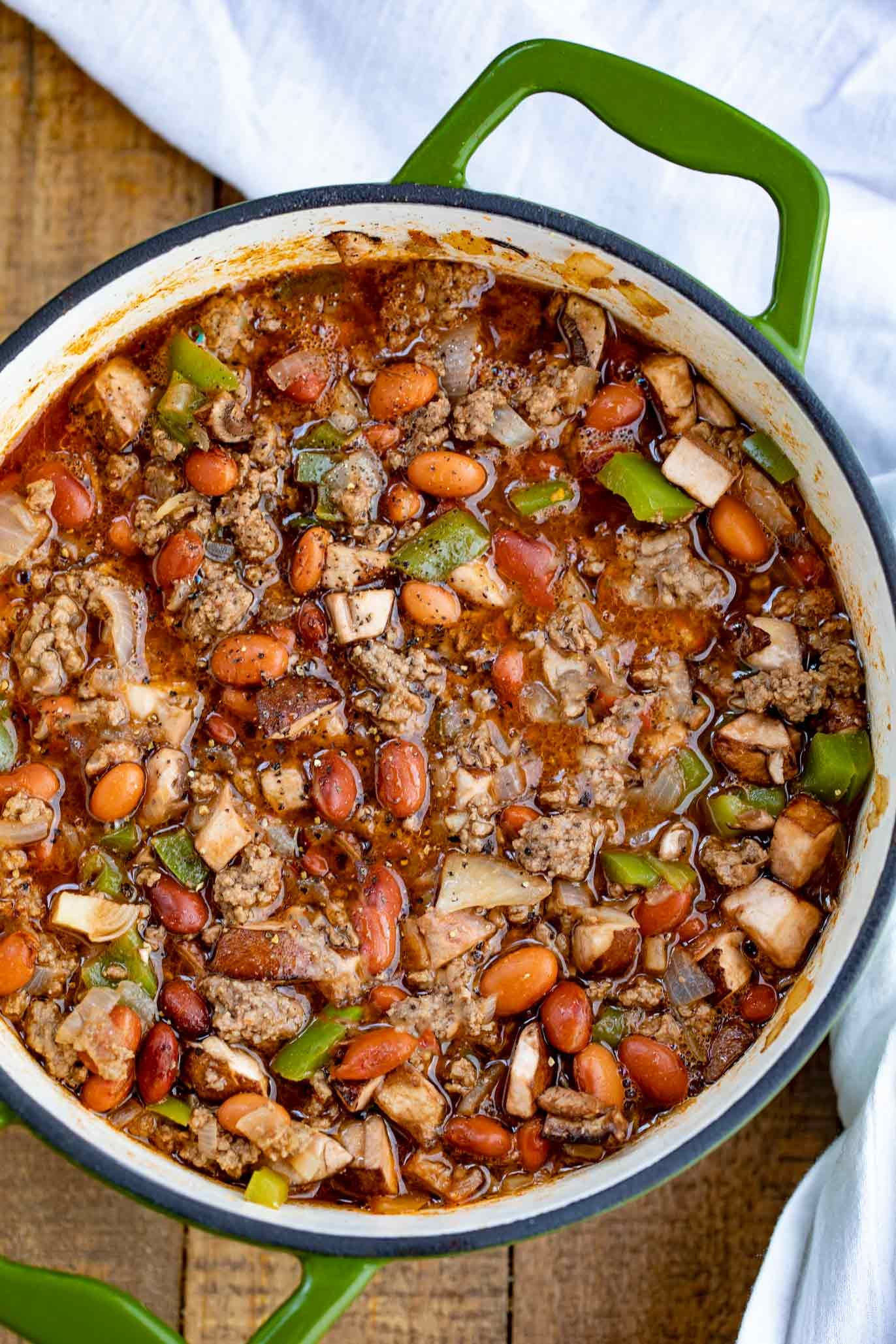 Chili With Steak And Ground Beef  Philly Cheesesteak Chili made with butter seared ground