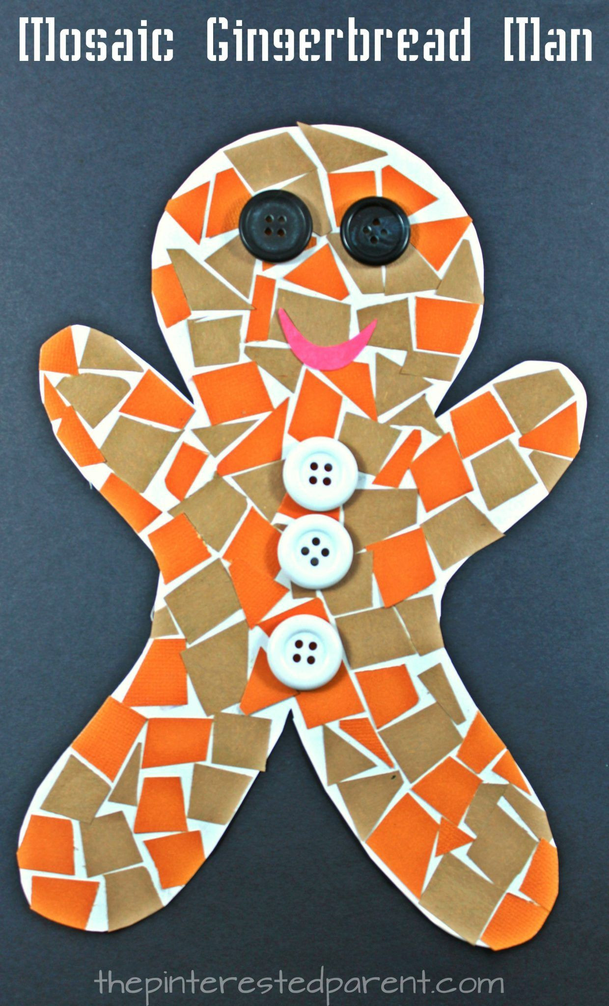 Christmas Arts And Craft Ideas For Toddlers  Construction Paper Gingerbread Man Mosaic