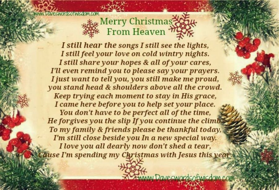 Christmas In Heaven Quotes  Merry Christmas From Heaven s and
