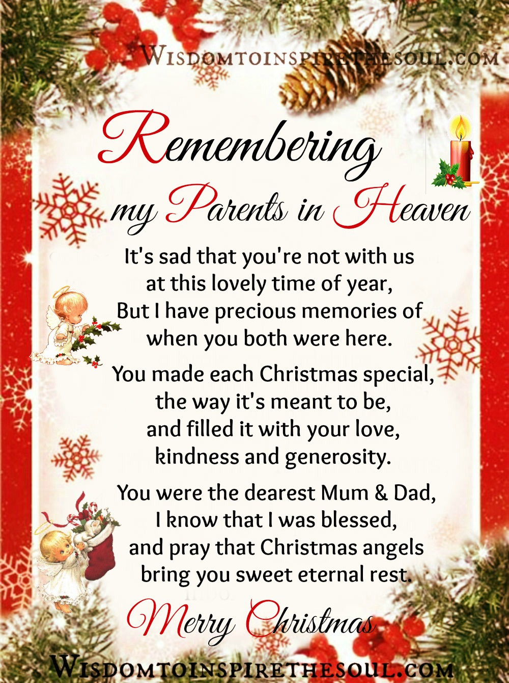 Christmas In Heaven Quotes  Daveswordsofwisdom Remembering my Parents in Heaven