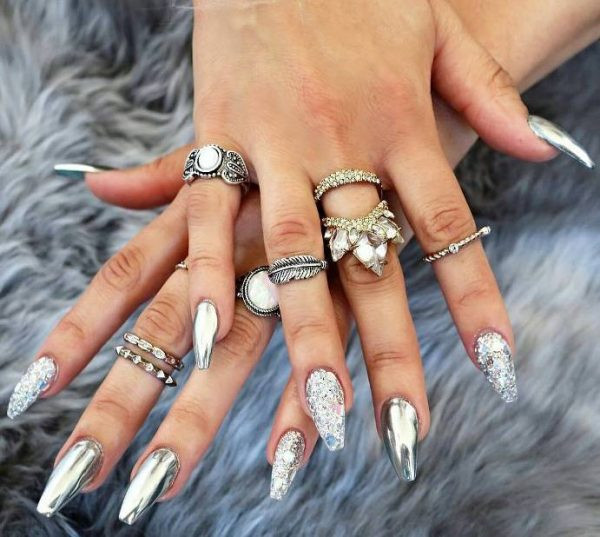 Chrome Glitter Nails  Fabulous Mirror Nail Designs That Will Glam Up Your Nails