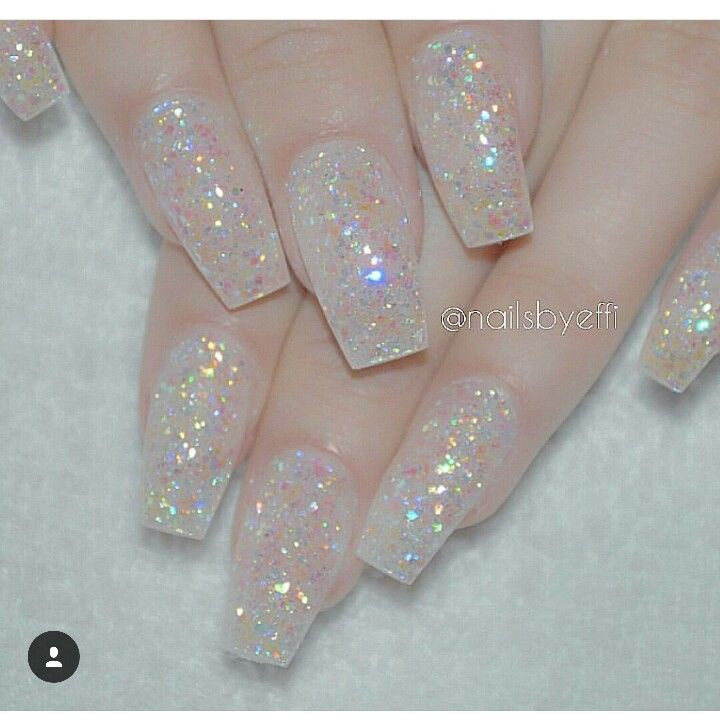 Clear Nails With Glitter  Clear glitter acrylic nails