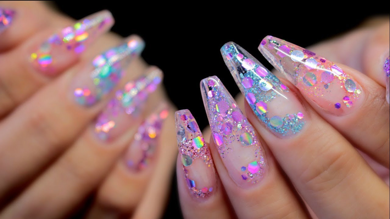 Clear Nails With Glitter  HARD GEL