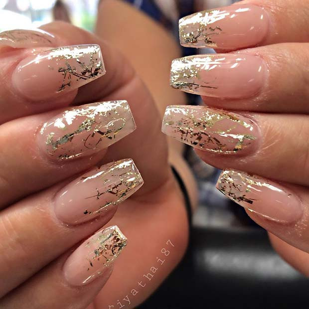 Clear Nails With Glitter  12 Ways to Rock Chrome Nails this Season crazyforus