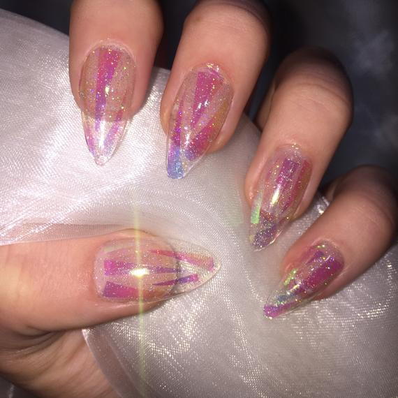 Clear Nails With Glitter  Clear holographic glitter shattered glass stiletto false nails