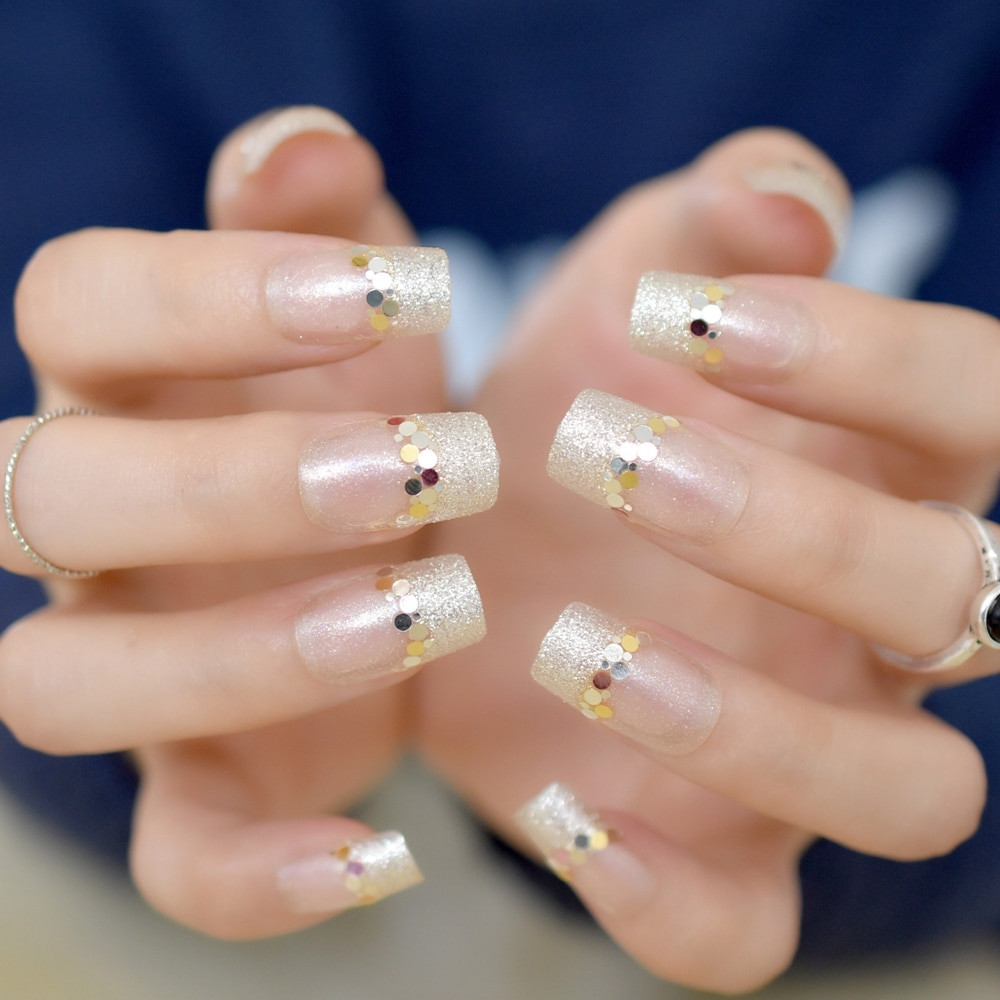 Clear Nails With Glitter  Shimmer Glitter French Nail Tips Sparkly 24pcs kit Medium