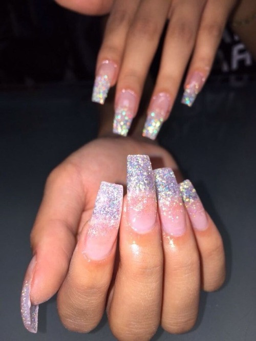 Clear Nails With Glitter  glitter french tip