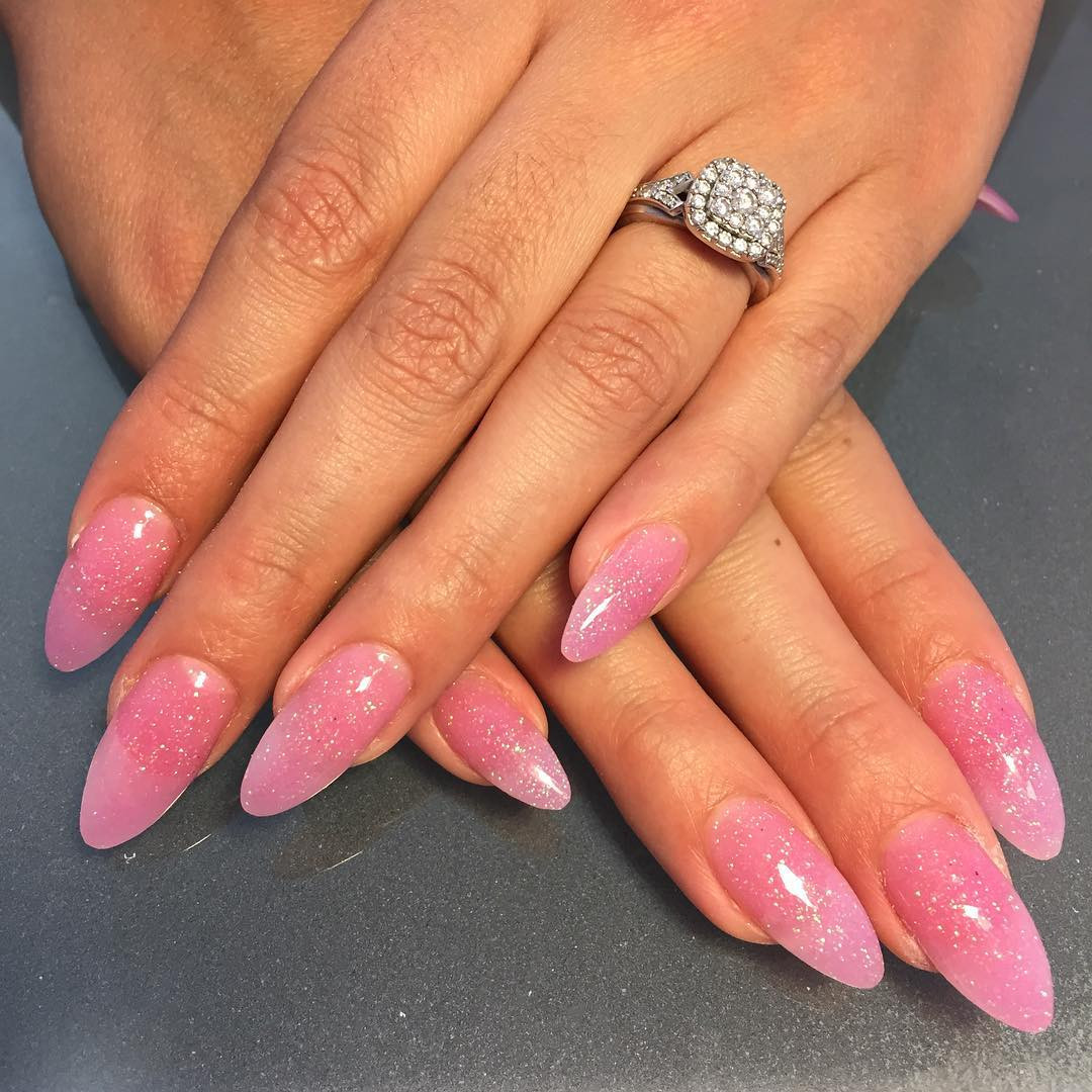 Clear Nails With Glitter  25 Pink Acrylic Nail Art Designs Ideas