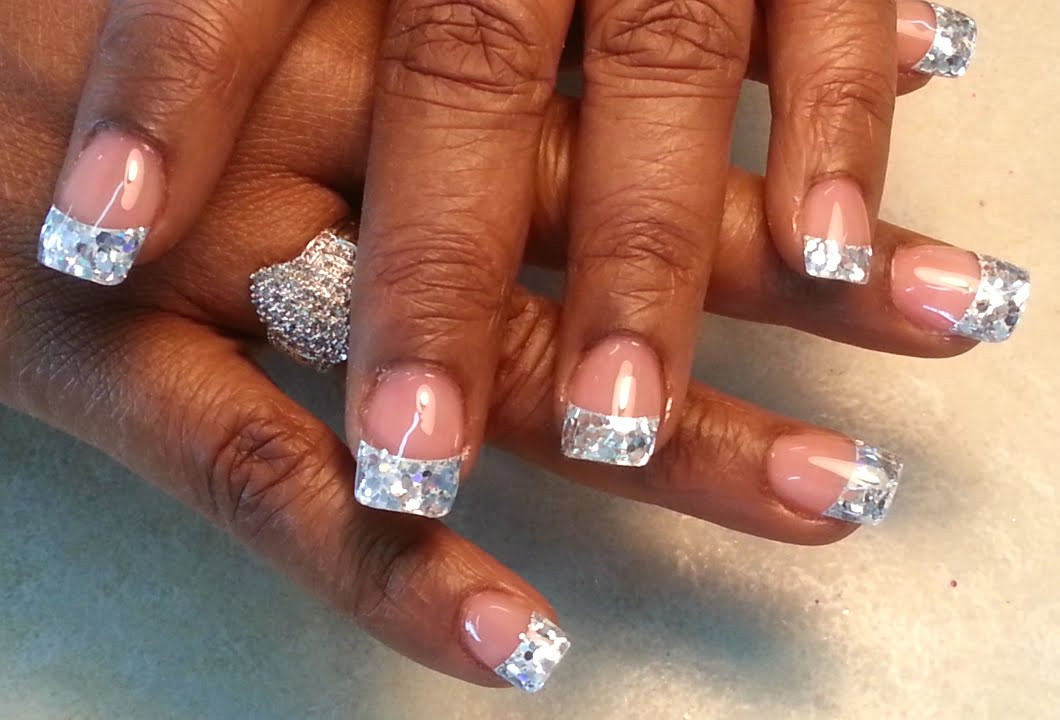 Clear Nails With Glitter  Glitter Silver under Clear Acrylic White Tips