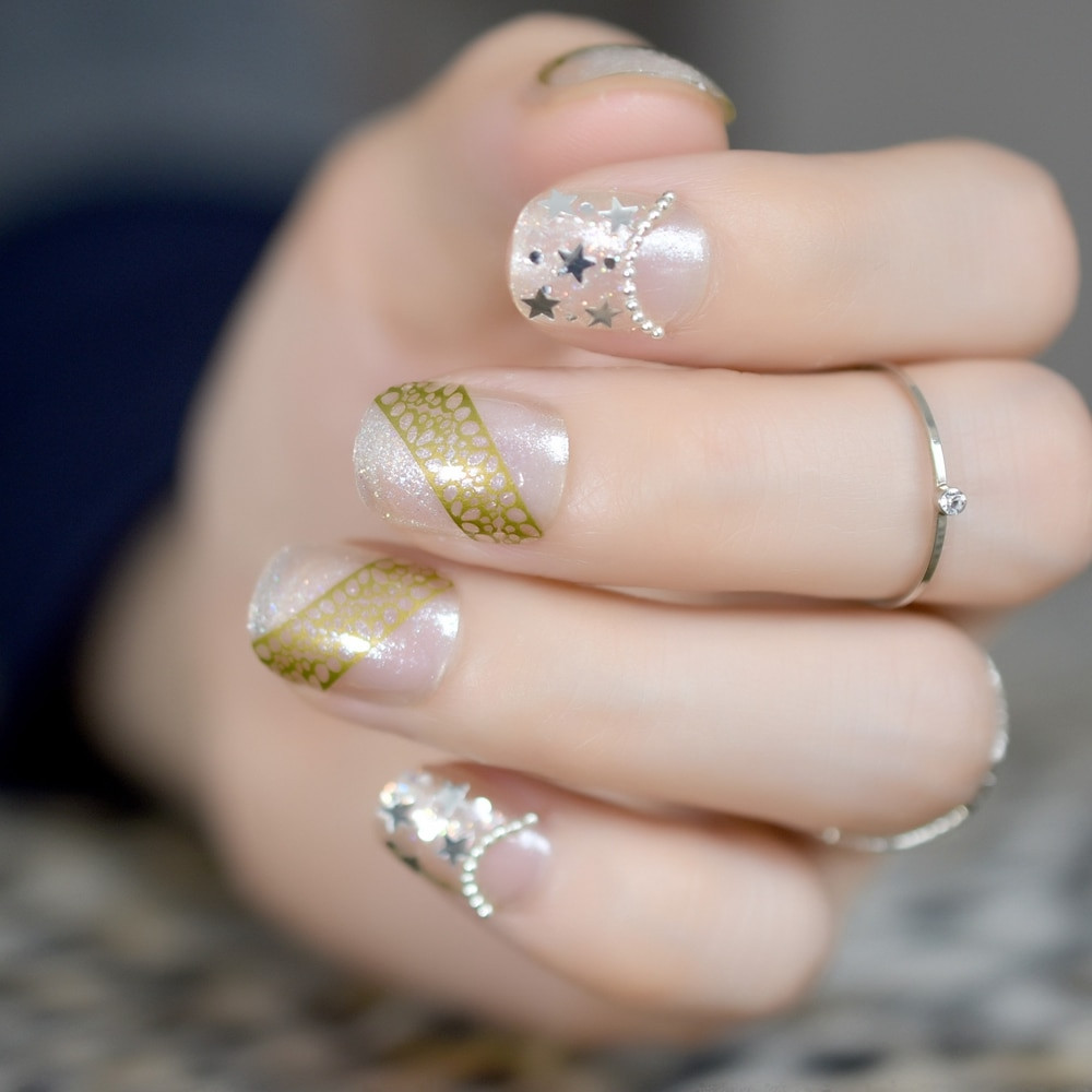 Clear Nails With Glitter  Small Short Oval False Nails Clear Glitter Star Decoration