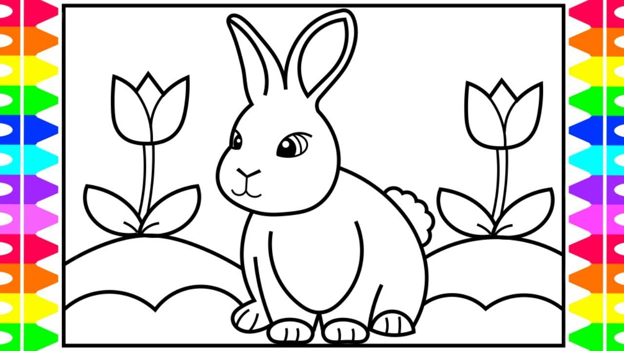 Coloring Kids  How to Draw a Rabbit for Kids 🐰🌈🌷Rabbit Realistic Drawing