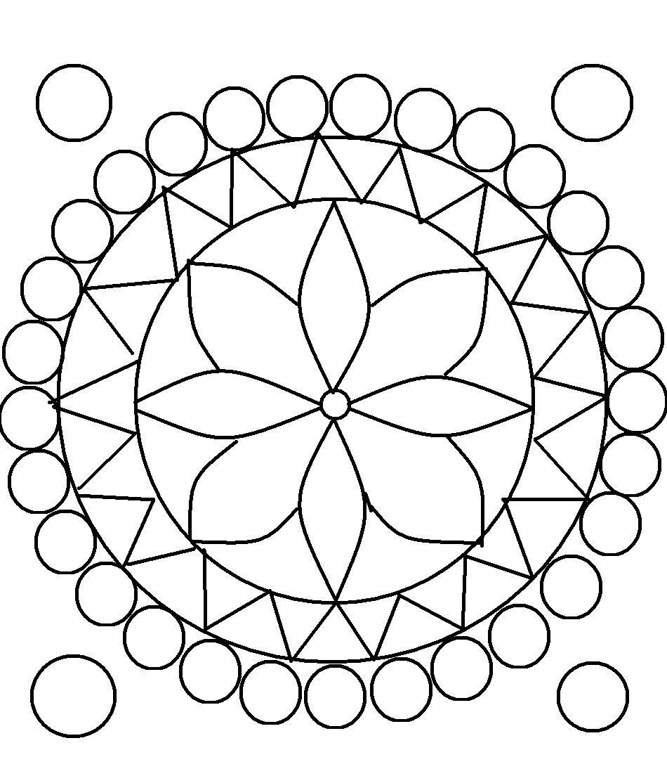 Coloring Patterns For Kids  Rangoli design coloring printable Page for kids 9