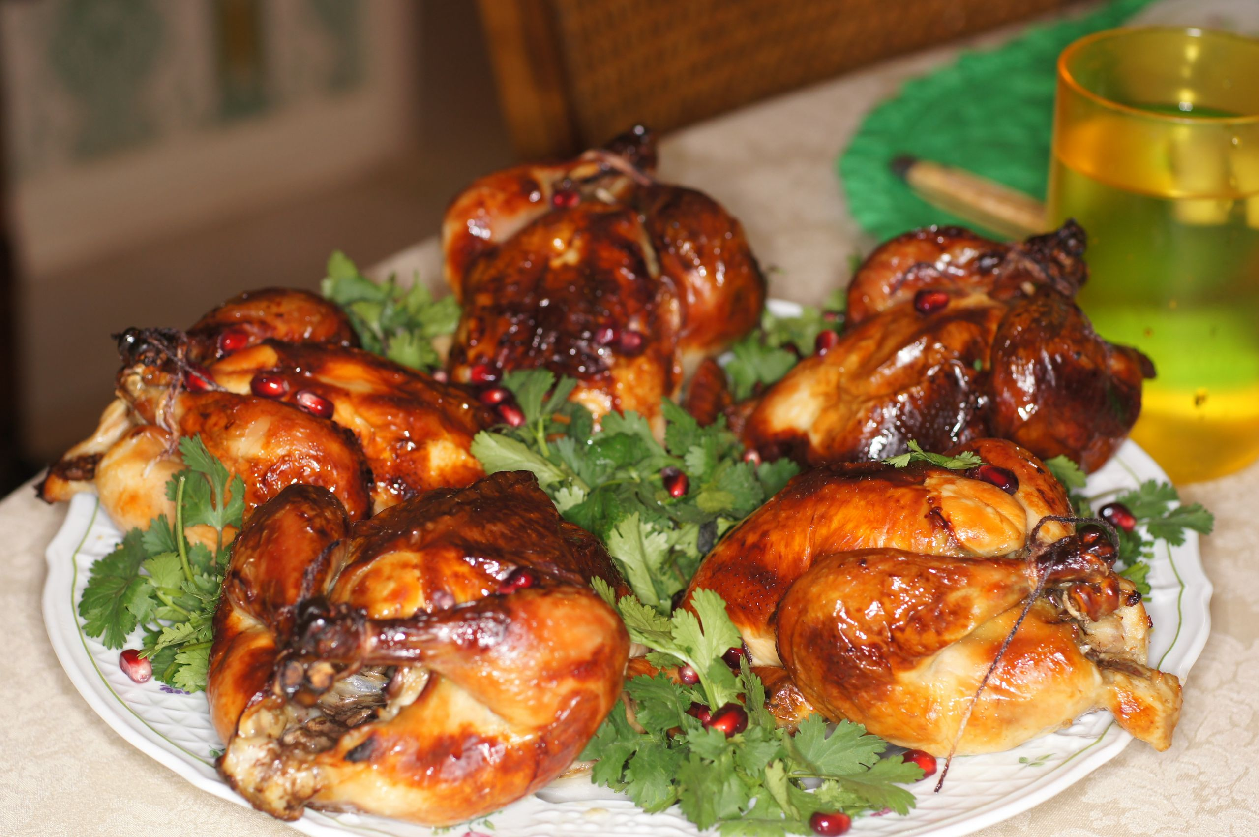 Cornish Game Hens Recipe  Roasted Brined Cornish Game Hens with Pomegranate Sauce
