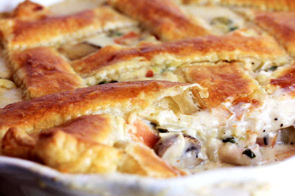 Creamy Turkey Pot Pie  Creamy Turkey Pot Pie with Puff Pastry