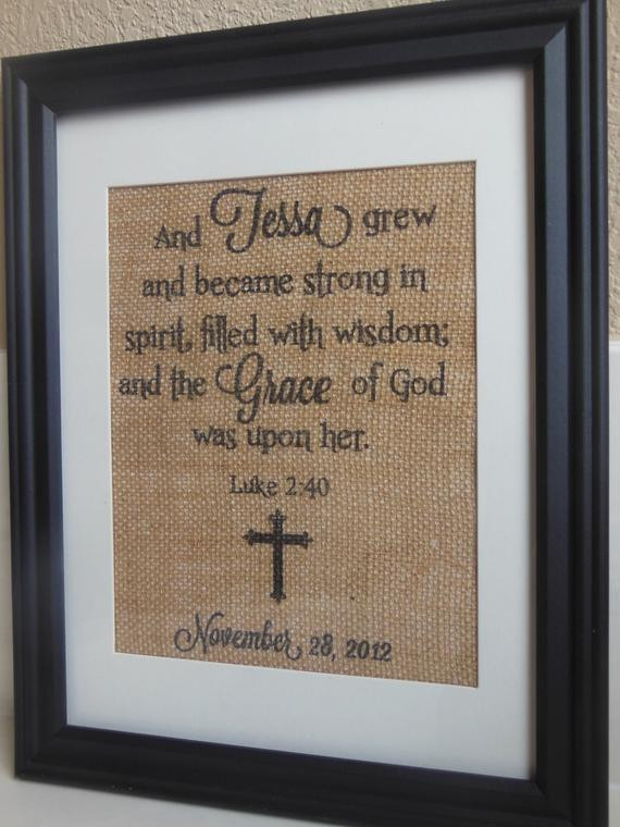 Dedication Gifts For Baby Boy  Items similar to Burlap Print for Newborn baby Baby