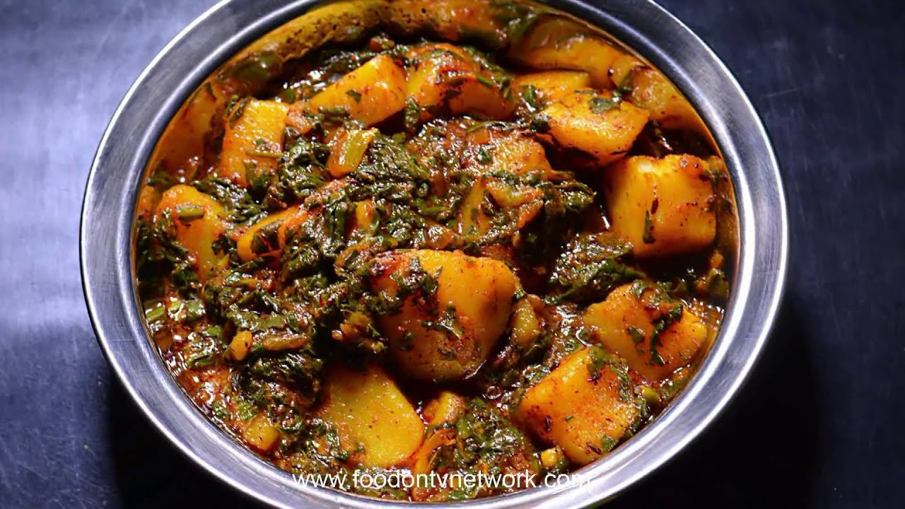 Dinner Recipes Indian Veg  Aloo Palak Healthy Indian Dinner Recipe