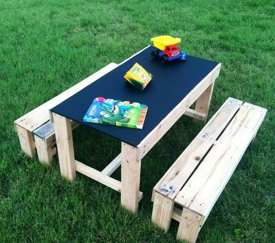 DIY Activity Table For Toddlers  This kid s activity table with a chalkboard table top is