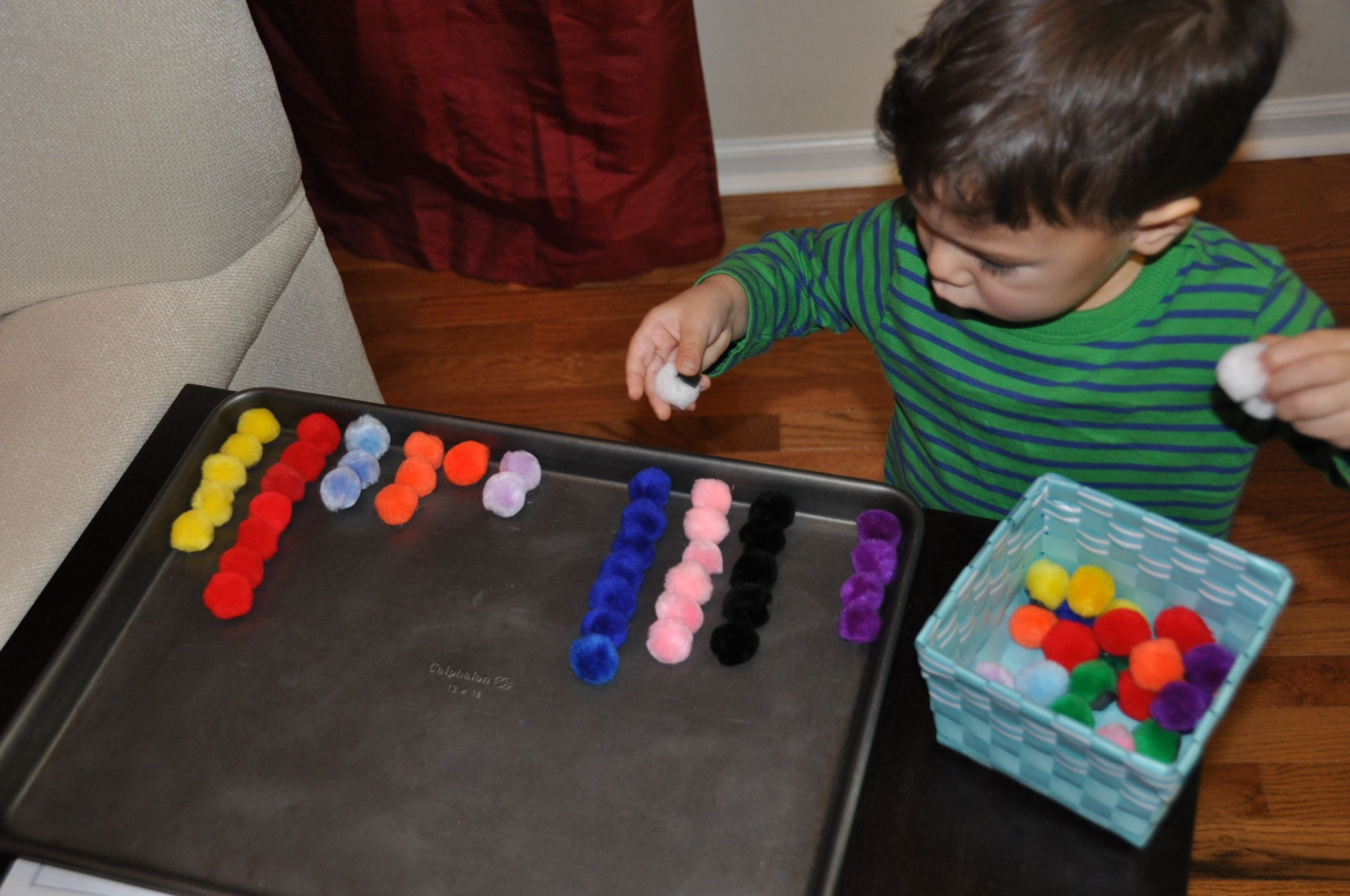 DIY Activity Table For Toddlers  Homemade Toy Magnetic Pompoms