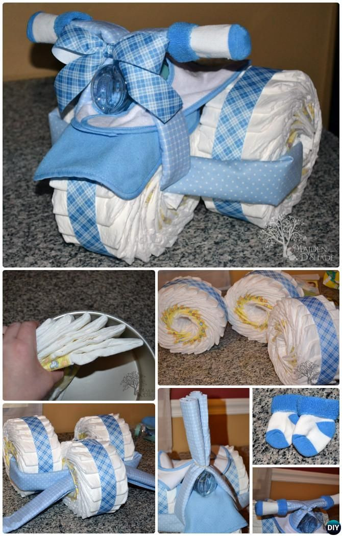 Diy Baby Boy Shower Gift Ideas  DIY Tricycle Diaper Cake Baby Gifts Handmade Baby Shower