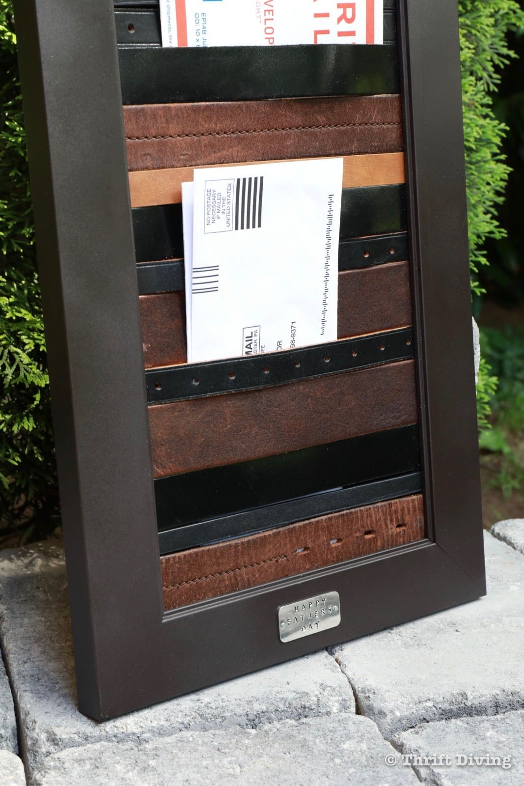 DIY Belt Organizer  DIY Mail Organizer With Picture Frame and Old Leather