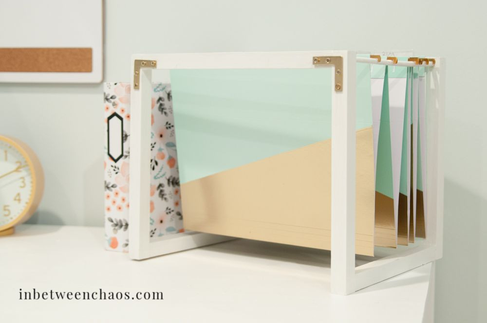 DIY Hanging File Folder Organizer  Build your own desktop hanging file stand to beautify and