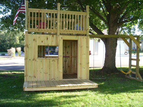 DIY Kids Clubhouse  Build a clubhouse with 2 levels and monkey bars