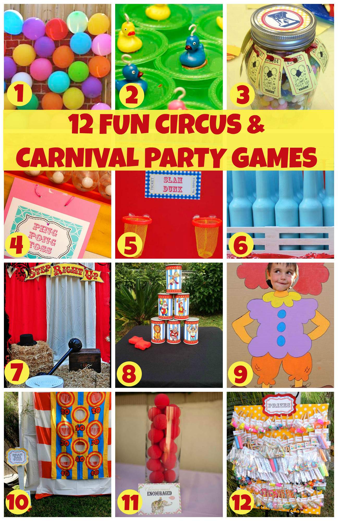 DIY Kids Party Games  12 Fun Circus Carnival Party Games