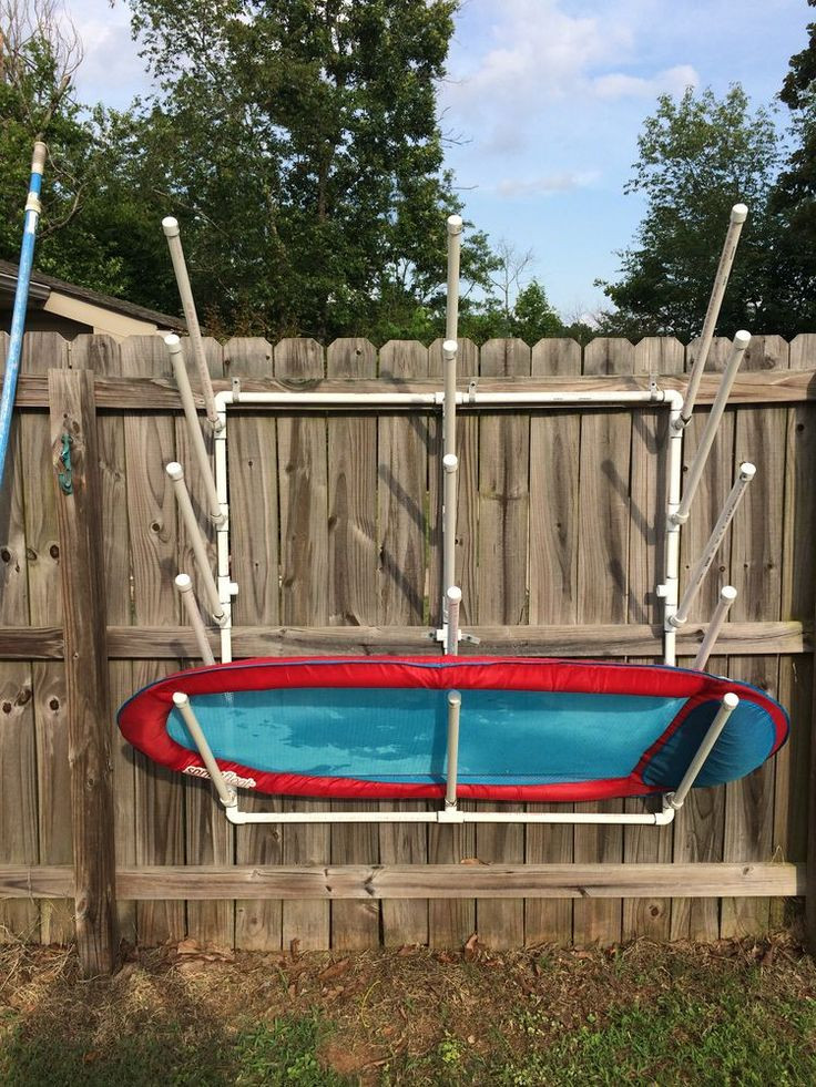 DIY Pool Float Organizer  DIY PVC pool side storage for pool floats and toys