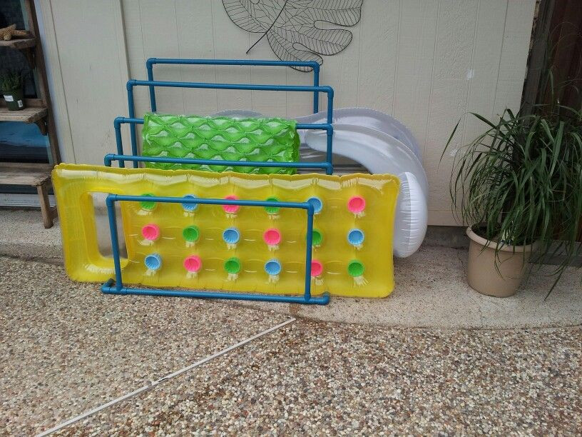 DIY Pool Float Organizer  Pool float holder made with PVC and spray paint