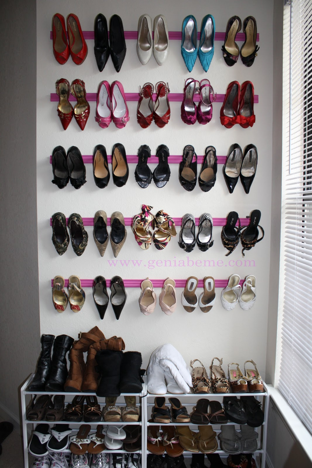 DIY Shoe Organizer Ideas  Crown Molding Shoe Rack Tutorial