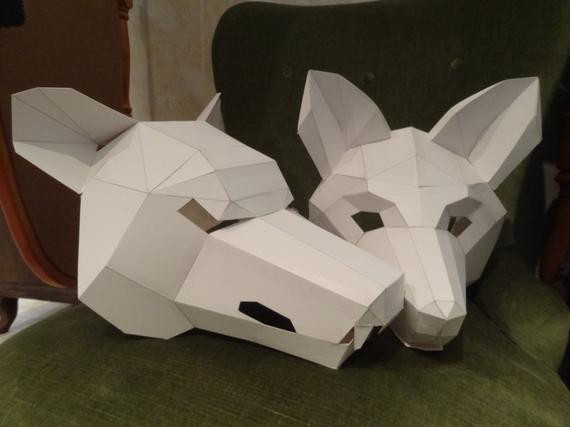 DIY Wolf Mask  Make your own wolf mask fox mask Instant DIY