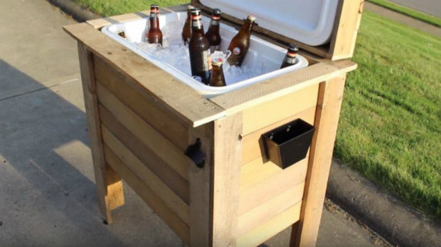 DIY Wood Cooler Box  15 DIY Garden Wood Projects To Boost Your Property Value