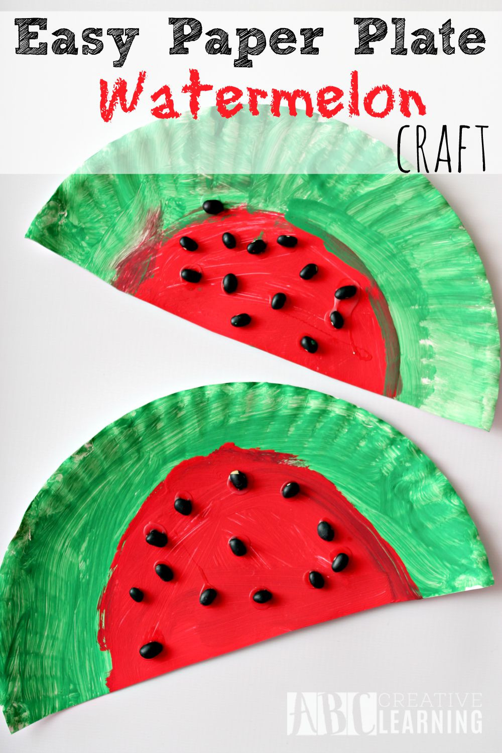 Easy Arts And Crafts For Toddlers  Easy Paper Plate Watermelon Kids Craft Perfect For Summer