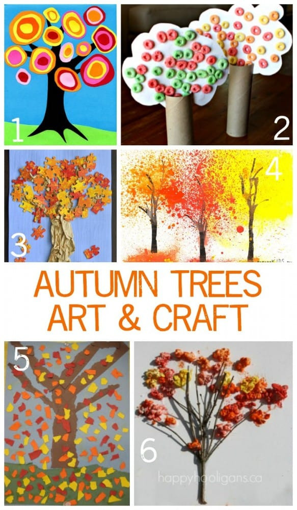 Fall Art Project For Kids  Children s Autumn Tree Art and Crafts Emma Owl
