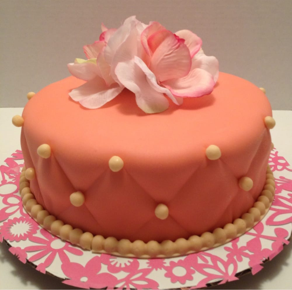 Fancy Birthday Cake  Fancy birthday cake Coral and cream colored Moist