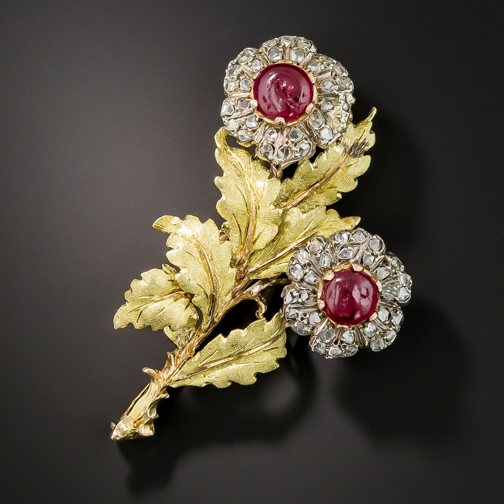 Flower Pins  Buccellati Ruby and Diamond Flower Brooch