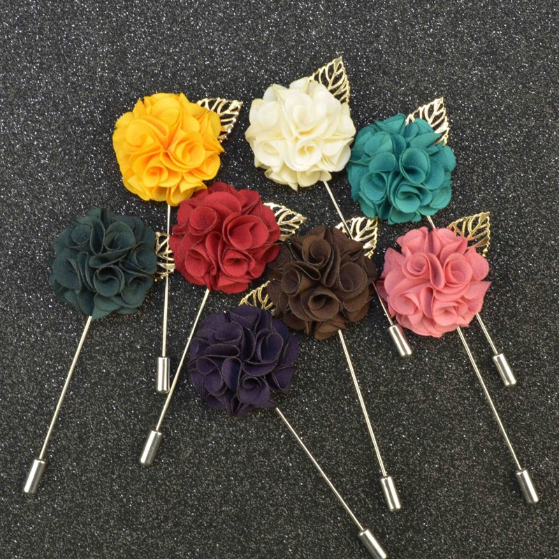 Flower Pins  Fashion Handmade Flower Boutonniere Stick Brooch Pin Mens